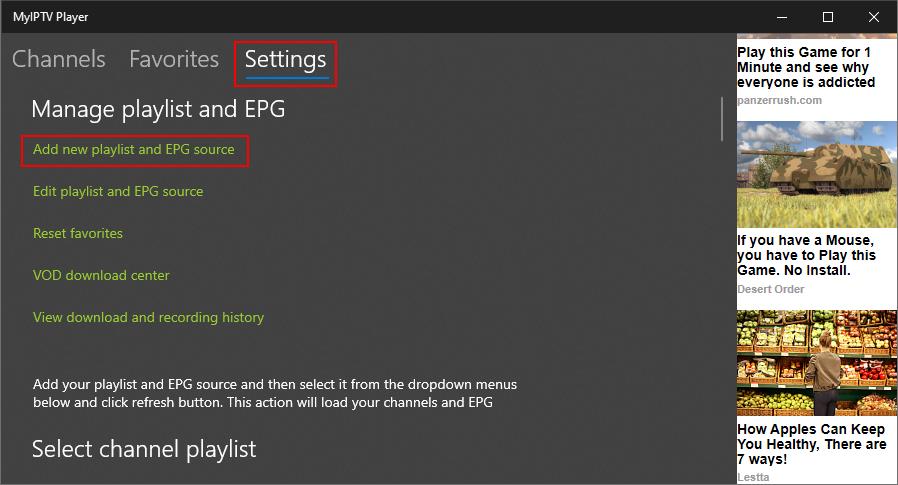 MyIPTV Player highlights the Settings area