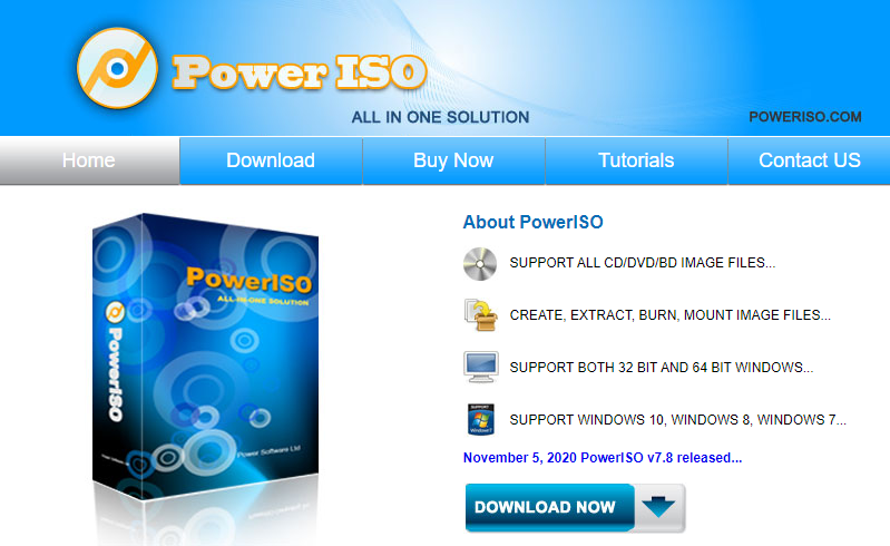 PowerISO shows the download page