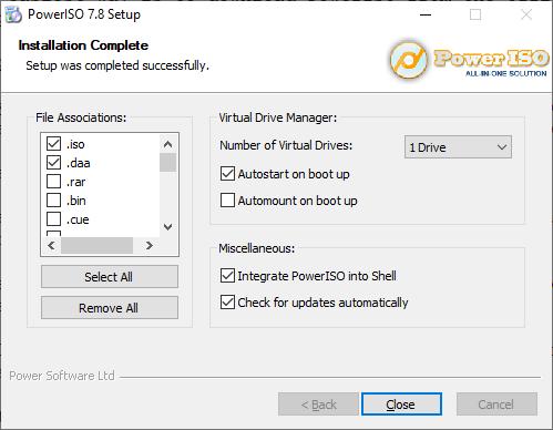 PowerISO shows setup options