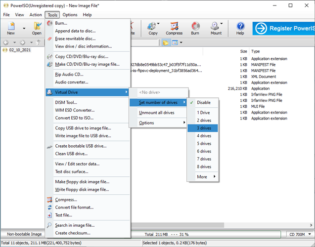 PowerISO shows the Tools menu