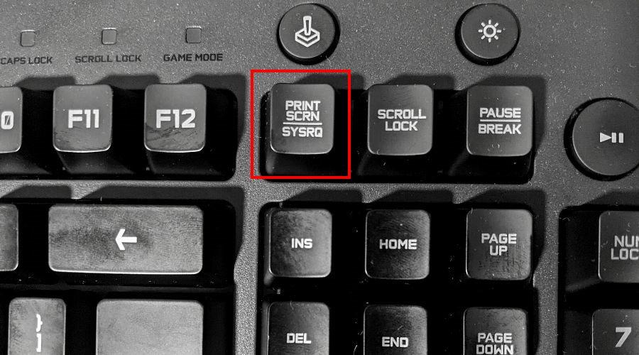 A keyboard shows the Print Screen key