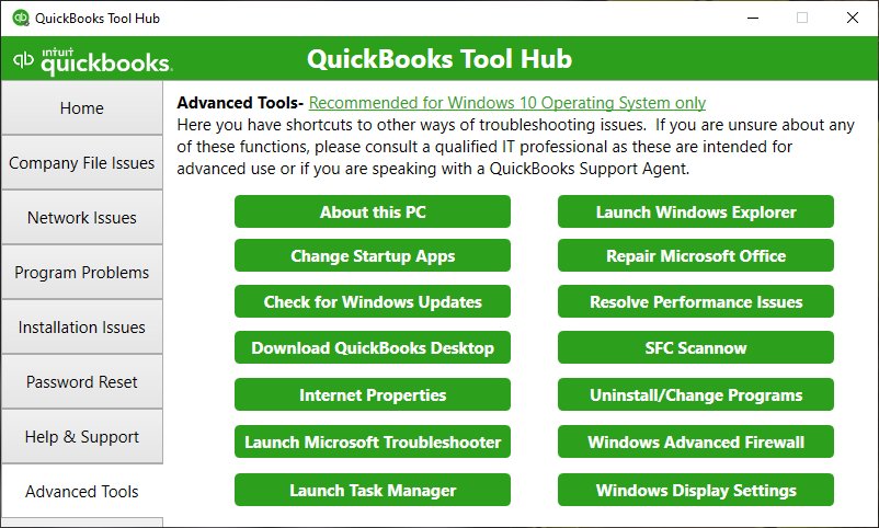 QuickBooks Tool Hub shows the Advanced Tools section