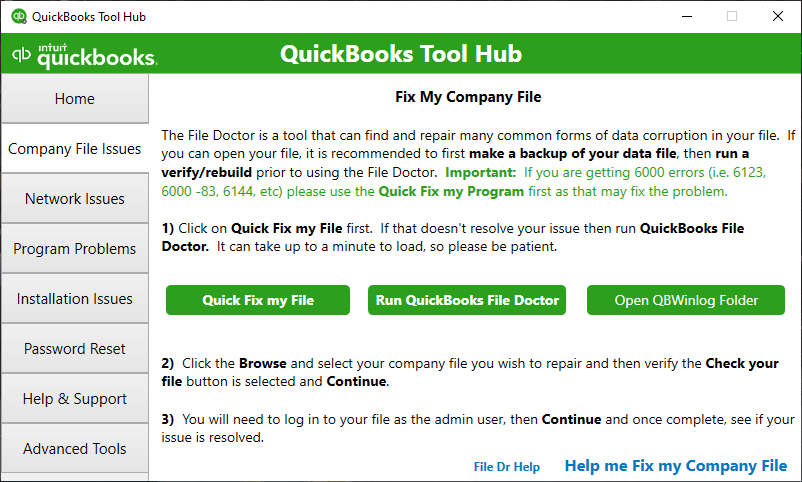 QuickBooks Tool Hub shows the Company File Issues section