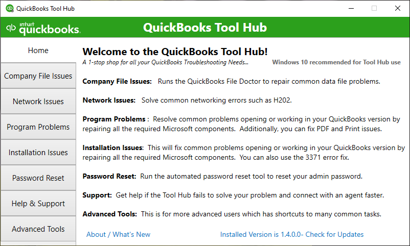 QuickBooks Tool Hub shows the Home section