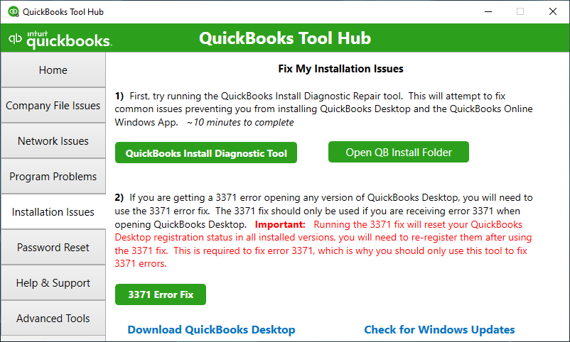 QuickBooks Tool Hub shows the Installation Issues area