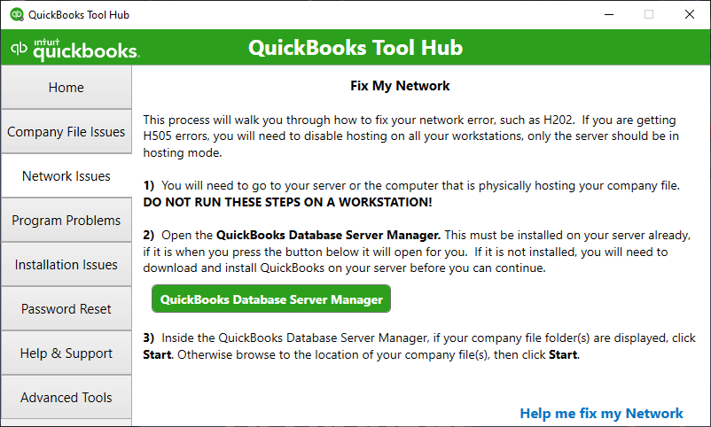 QuickBooks Tool Hub shows the Network Issues section