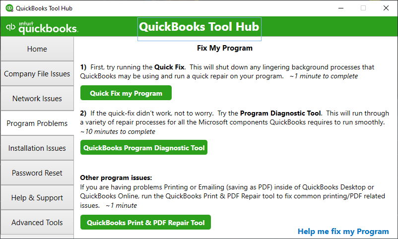 QuickBooks Tool Hub shows the Program Problems section