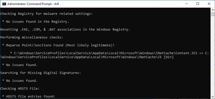 Command Prompt runs the RKill tool