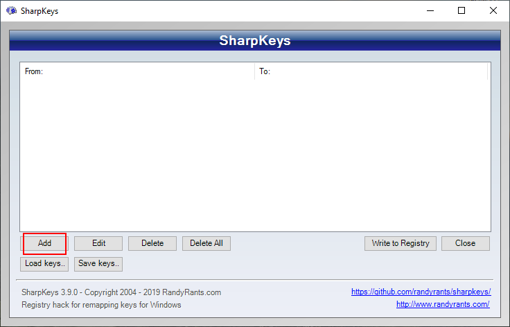 SharpKeys highlights the Add button