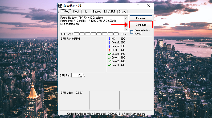 The SpeedFan Readings tab highlights the Configure button