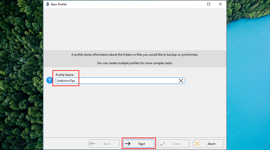 SyncBack shows how to add a new profile name