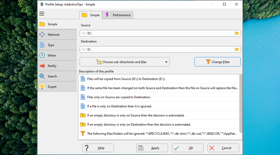 SyncBack shows the simple backup options