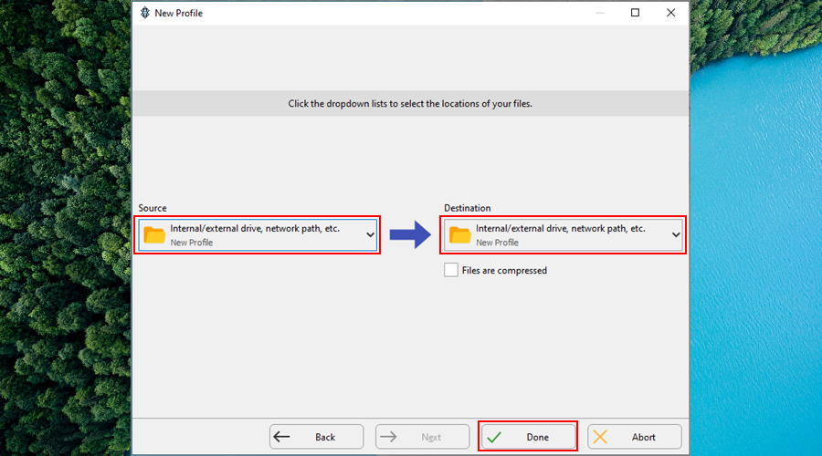 SyncBack shows how to pick the source destination