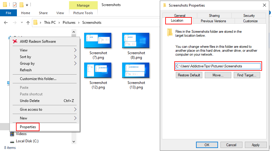 Windows 10 shows how to change the default location for saved screenshots
