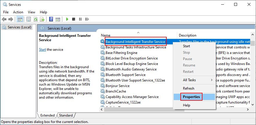 How to access Background Intelligent Transfer Service properties