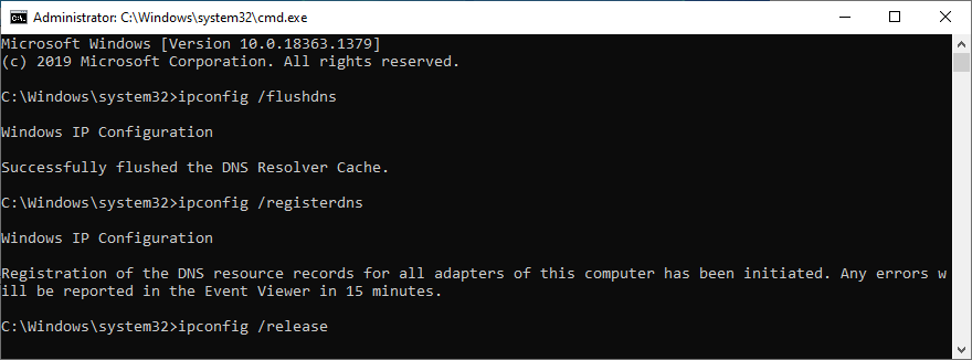 Command Prompt shows how to flush, register and release DNS