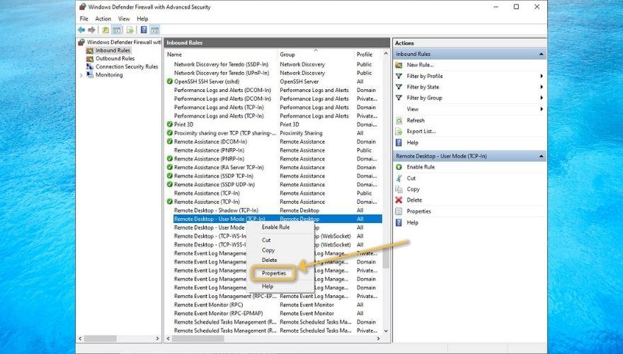 Creating an inbound rule for remote desktop