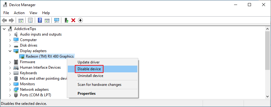 Windows shows how to disable a device in Device Manager