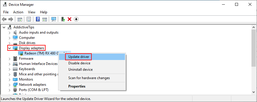 Windows shows how to update display adapter drivers in Device Manager