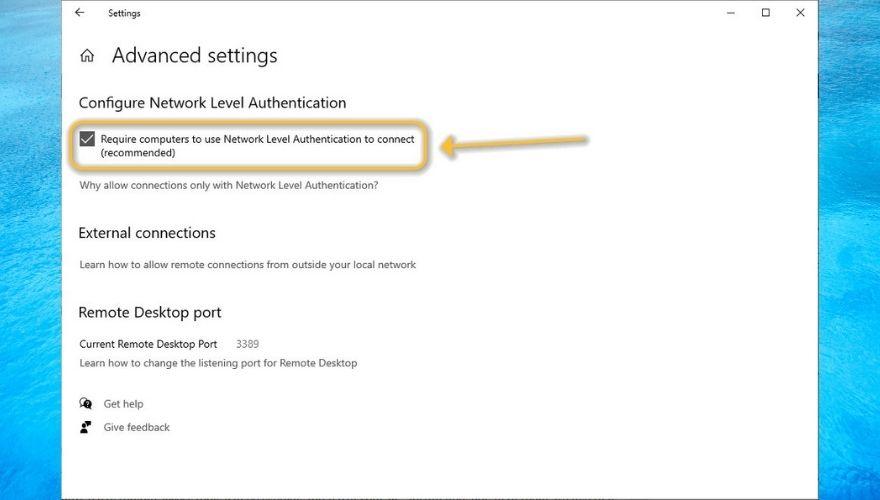Enable Network Level Authentication