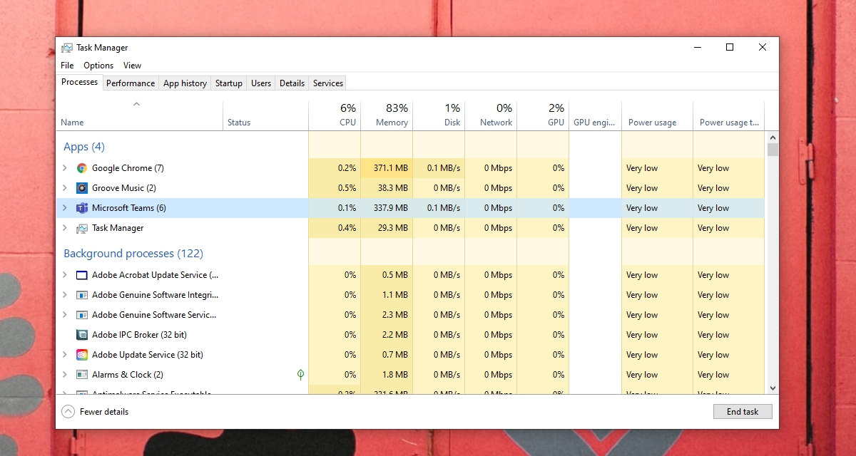 Microsoft Teams memory usage