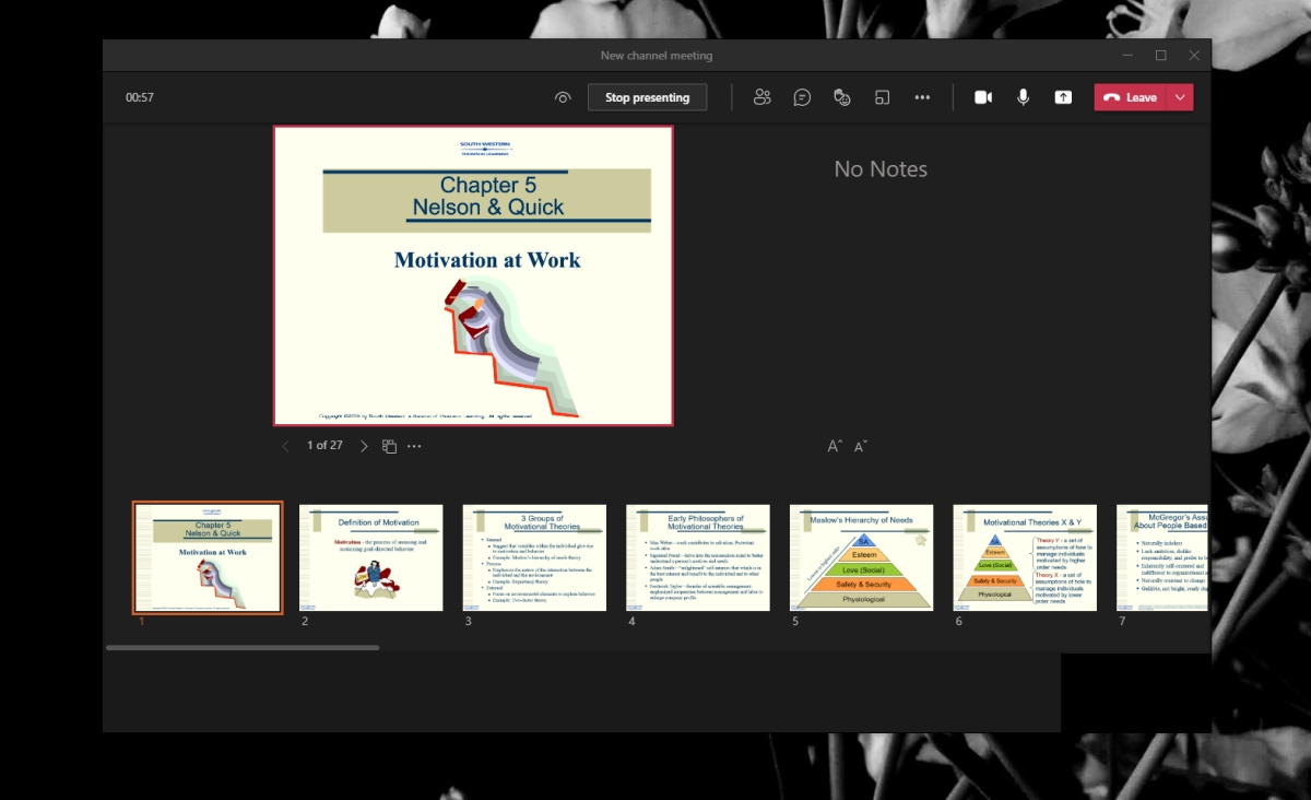 Microsoft Teams presentation mode