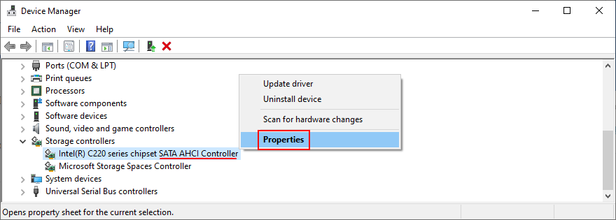 Device Manager shows how to access the SATA AHCI Controller properties