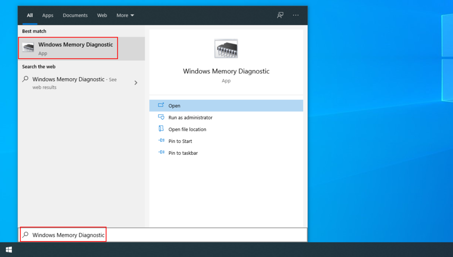 The Start menu shows how to access Windows Memory Diagnostic