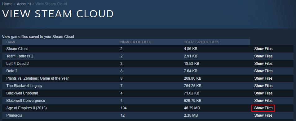 Steam Cloud shows game files