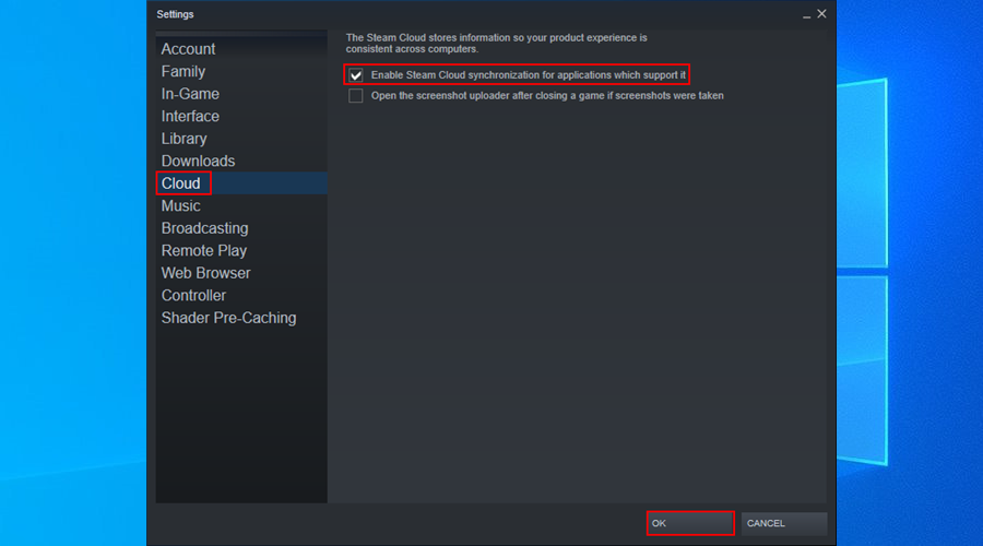 how to enable Steam Cloud synchronization