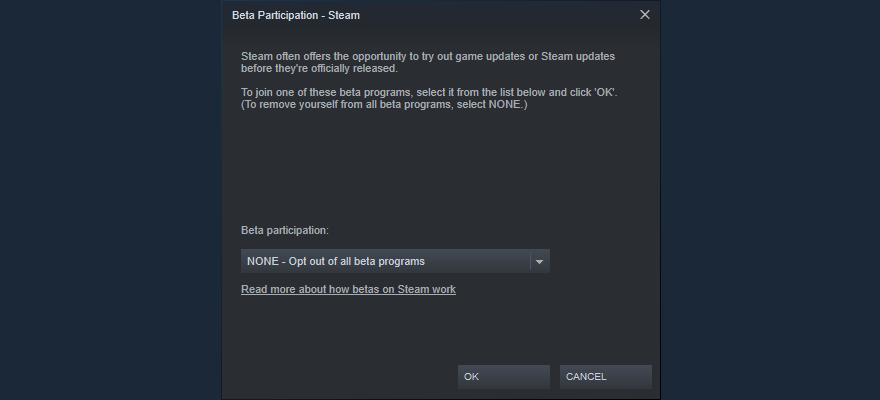 Steam shows how to opt out of beta participation