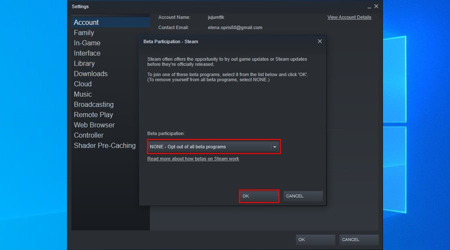 Steam shows how to opt out of beta updates on Windows 10