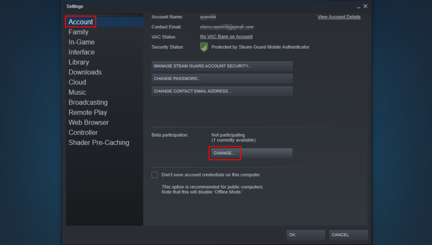 Steam shows how to change beta settings