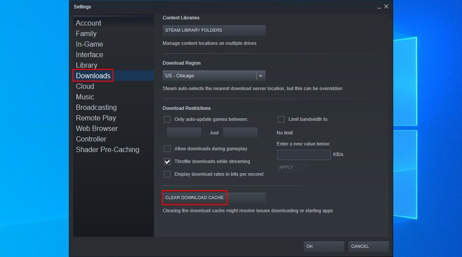 Steam shows how to clear the download cache on Windows 10