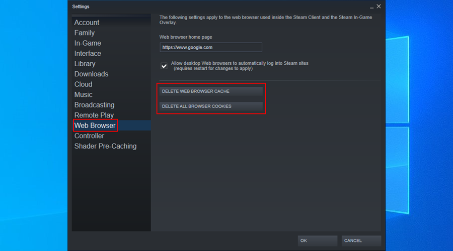 Steam shows how to delete browser cache and cookies on Windows 10