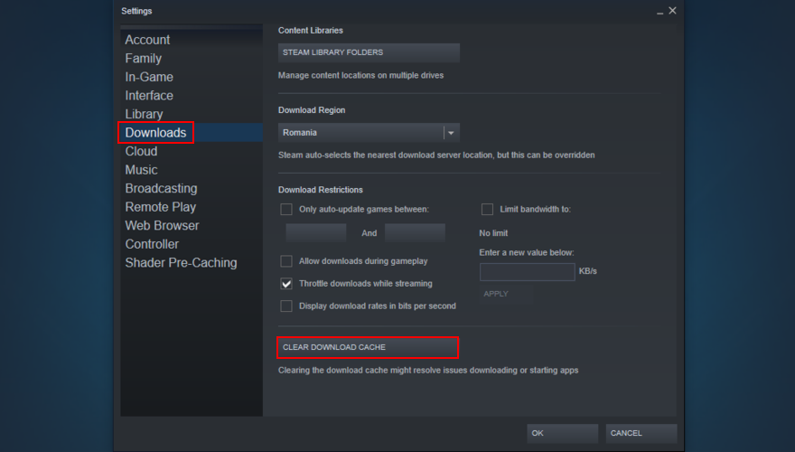 Steam shows how to clear the download cache