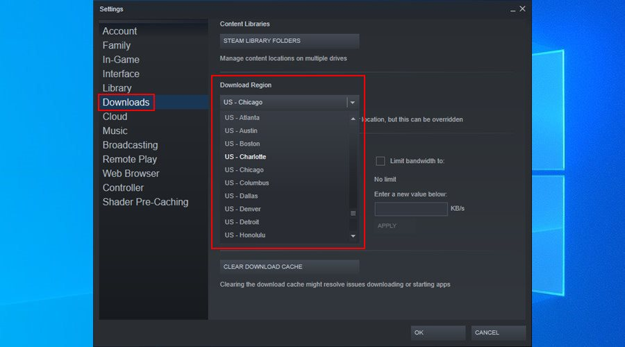 Steam shows how to change the download region on Windows 10
