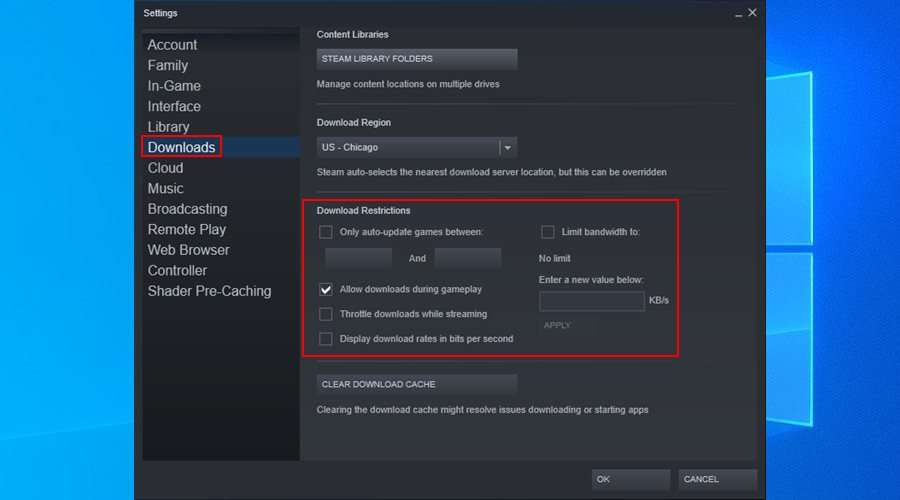 Steam shows how to disable download restrictions on Windows 10