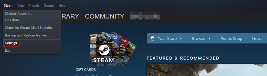 Steam not opening? Access the Settings menu