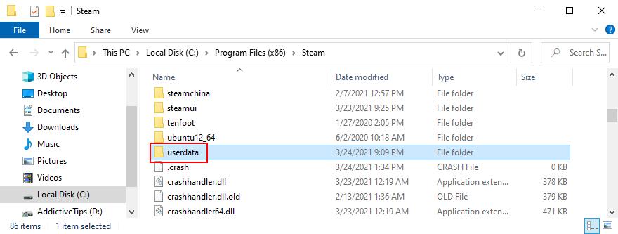 Steam shows the userdata folder
