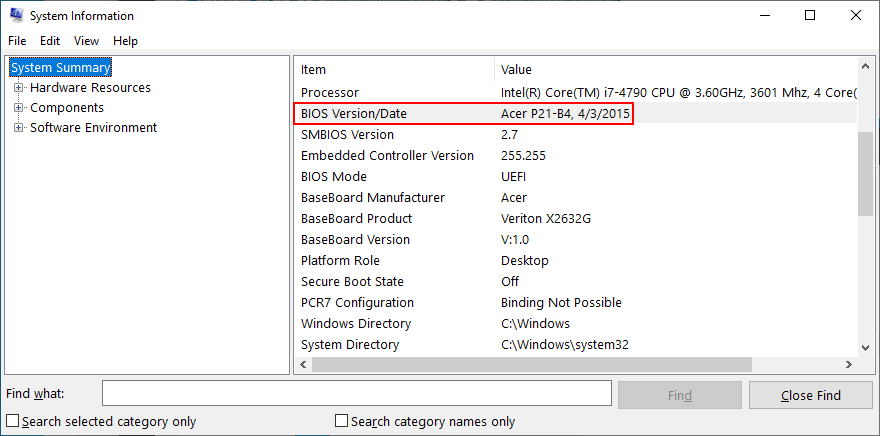Windows 10 shows how to get your BIOS version from the System Information app