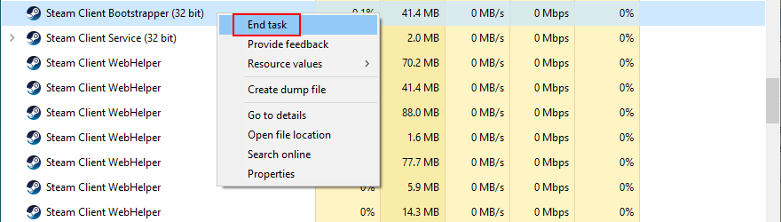 Task Manager shows how to end the Steam tasks