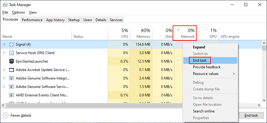 Task Manager shows how to end network-consuming tasks