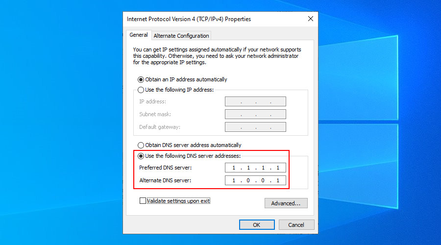 Windows 10 shows how to set Cloudflare DNS servers