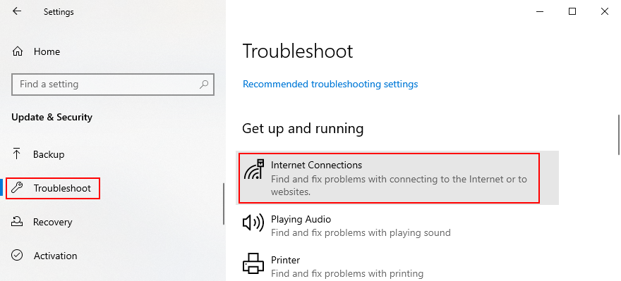 Windows 10 shows how to access the Internet troubleshooter