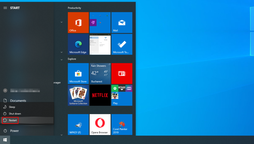 Windows 10 shows how to restart your PC from the Start menu
