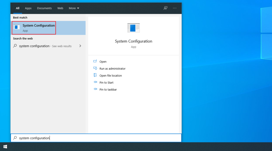 Windows 10 shows how to access the System Configuration app from the search menu