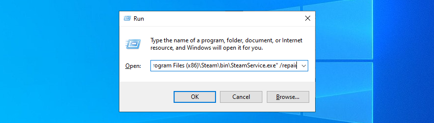 Windows 10 shows how to repair Steam using a command