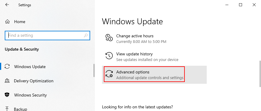 Windows 10 shows how to access advanced Windows Update options