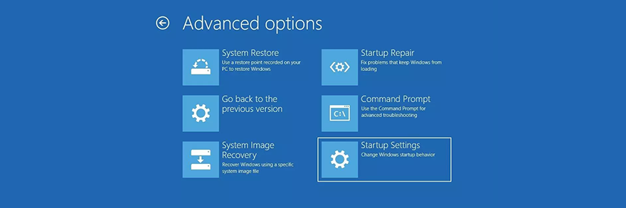Windows 10 shows the advanced startup options